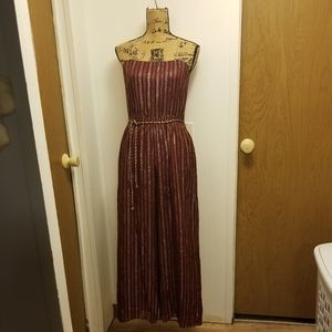 Vintage 1970s Maroon Gold Stripe  Jumpsuit Disco